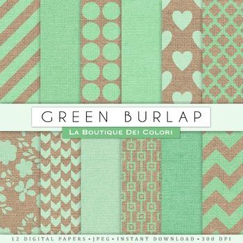 Green Burlap Digital Paper, scrapbook backgrounds