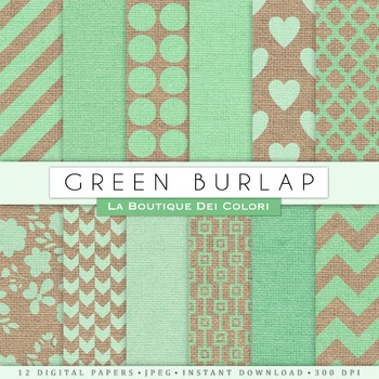 Green Burlap Digital Paper, scrapbook backgrounds