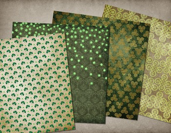 Green Celtic Irish St Patricks Day Digital Paper Backgrounds Textures