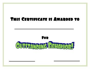 Green Certificate for Outstanding Behavior