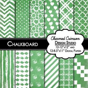 Green Chalkboard Digital Paper 1414