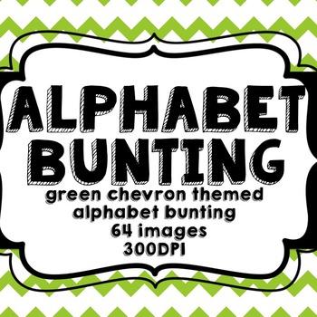 Green Chevron Alphabet Bunting