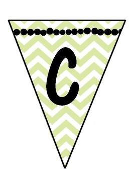 Green Chevron Alphabet Pendant