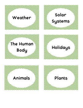 Green Chevron Book Bin Labels