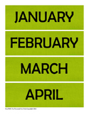 Green Chevron Calendar Card Set - Months