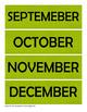 Green Chevron Calendar Card Set - Months