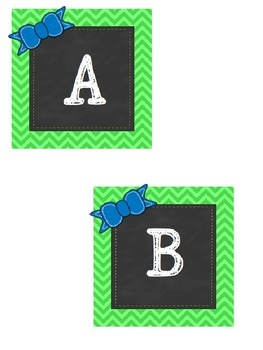 Green Chevron Chalkboard Letter Cards