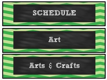 Green Chevron Chalkboard Schedule Cards