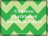 Green Chevron Chalkboard Schedule Cards