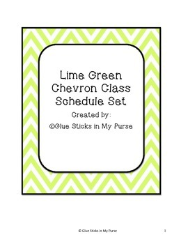 Lime Green Chevron Class Schedule-Many Subjects!