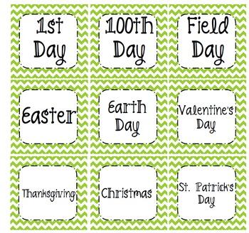 Green Chevron Classroom Calendar