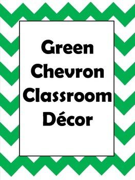 Green Chevron Classroom Decor