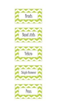 Green Chevron Classroom Labels