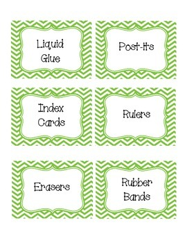 Green Chevron Classroom Supply Labels