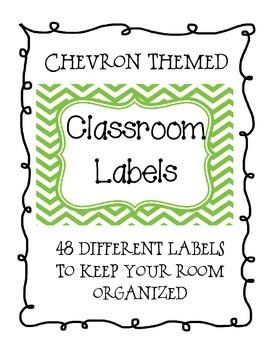Green Chevron Classroom Supply Labels