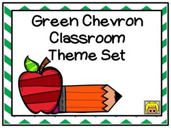 Green Chevron Classroom Theme Set