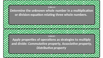Green Chevron Common Core 3rd Grade Math Objectives Cards