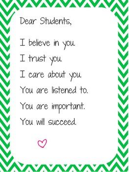 "Green Chevron ""Dear Student"" Poster"