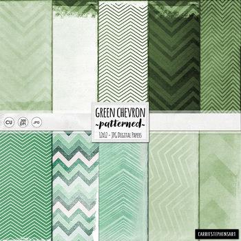 Green Chevron Digital Papers, EverGreen, Emerald Green