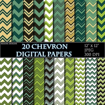 Green Chevron Digital Papers Forest Papers Zigzag Scrapbooking Printable Mint