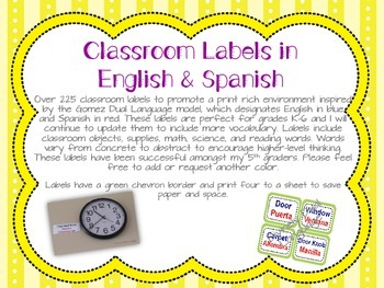 Green Chevron Dual Language Classroom Labels in English and Spanish