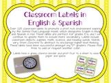 Green Chevron Dual Language Classroom Labels in English an