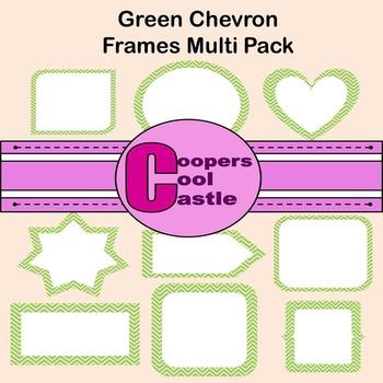 Green Chevron Frames (Digital Clip Art) CCC