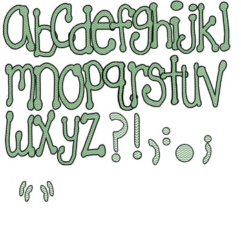 Green Chevron Letters/Alphabet/Font