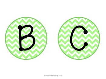 Chevron Letter Labels for Word Wall or Class Library: GREEN