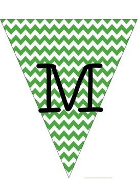Green Chevron Math and Calendar Flags