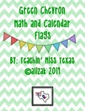 Green Chevron Math and Calendar Flags