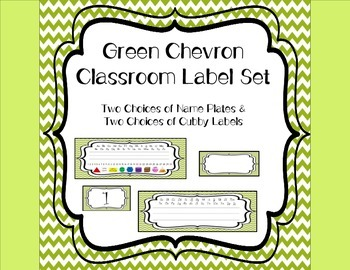 Green Chevron Name Plates & Cubby Labels