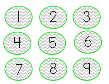 Green Chevron Number Labels