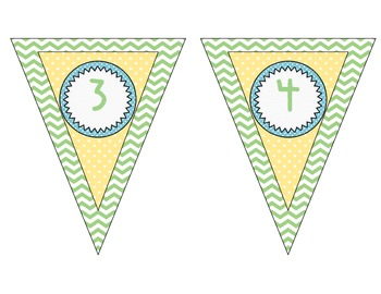 Green Chevron Number Line Banner ~ Numbers 1 - 200