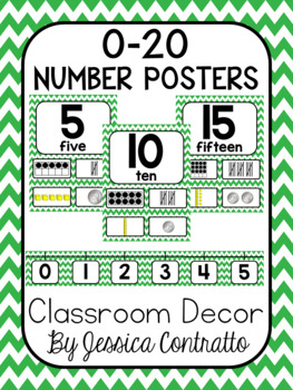 Green Chevron Number Posters 0-20