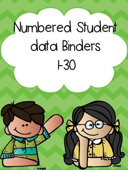 Green Chevron Numbered Student Data Binders 1-30