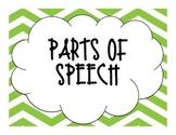Green Chevron Parts of Speech Posters