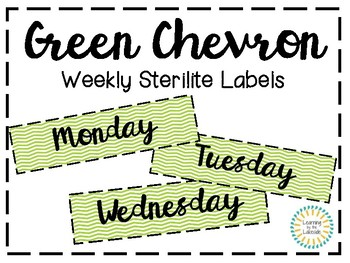Green Chevron Sterilite Labels (3 Drawer)