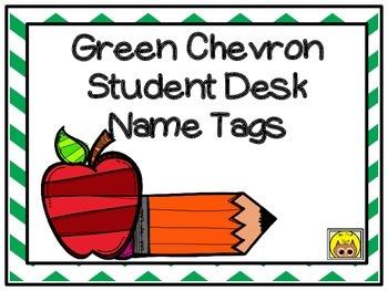 Green Chevron Student Desk Name Tags
