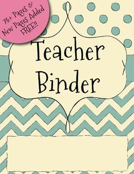 UPDATED Green Chevron Teacher Binder Dividers, Calendar, N