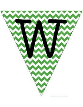 Green Chevron Word Wall Flags