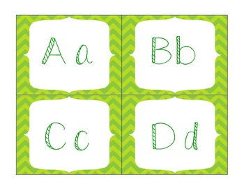 Green Chevron Word Wall Letters