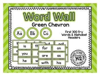 Green Chevron Word Wall {fry words}