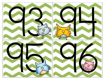 Sassy Green Chevron and Adorable Owl Word Wall Letters and Numbers to 100