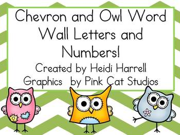 Sassy Green Chevron and Adorable Owl Word Wall Letters and