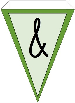 Green Chevron and Solid Alphabet Pennant Banner