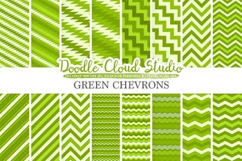 Green Chevron digital paper, Chevron and Stripes  pattern, tribal chevron