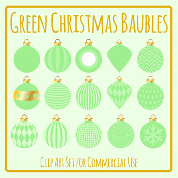 Green Christmas Baubles Clip Art Set for Commercial Use