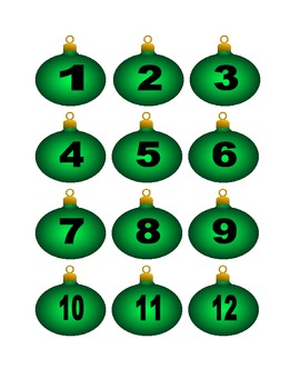 Green Christmas Ornament Numbers for Calendar or Counting Activity
