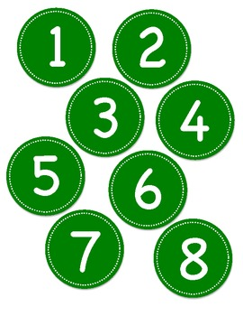 Green Circle Number Labels 1 - 30